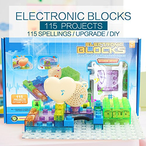 Circuit Kit With Lighted Bricks (34pcs), 115 Different Projects in 1, Educational Toy by Pantheon