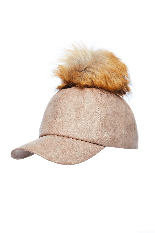 Womens Suede Body PU Leather Visor Puffy Pom Pom Top Cap LH3191 (Tan)