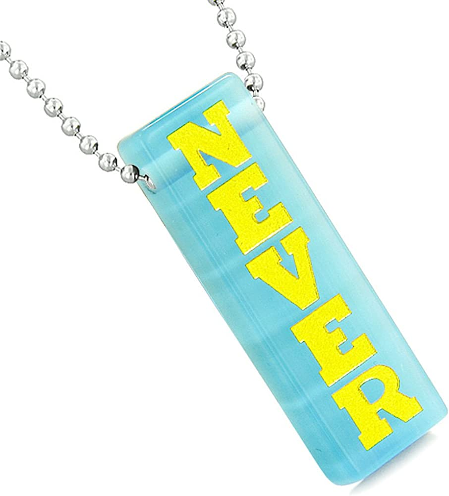 Never Give Up Tags Love Couples or Best Friends Yin Yang Amulets Sky Blue Simulated Cats Eye Necklaces