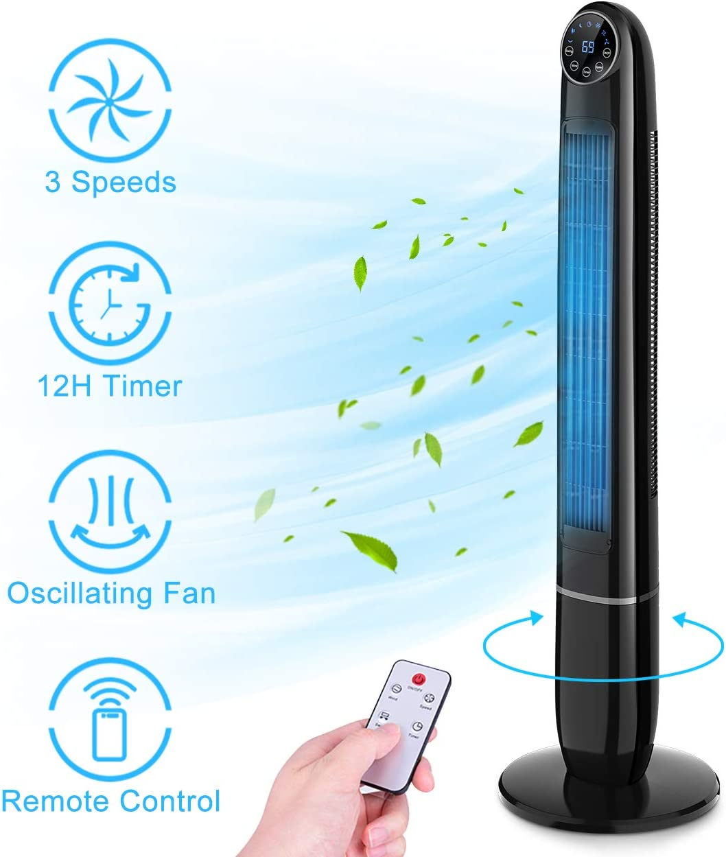 Tower Fan - 48 Inch Quiet Powerful Oscillating Fan, Bladeless Fan with Remote Control, 3 Mode, 3 Speed & 12H Timer, Whole-Room Air Circulator Standing Fan for Bedroom Living Room Home Office Use