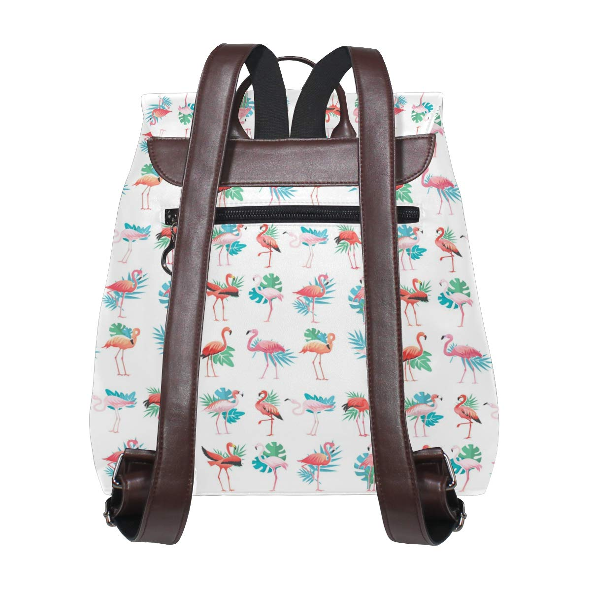 Leather Tropical Exotic Flamingos Pink Backpack Daypack Bag Women