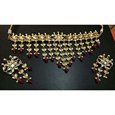 e6ff22d3f9cb2 Amazon.com: Bollywood Gold Tone Jewelry Kundan Bridal Maroon Beads ...