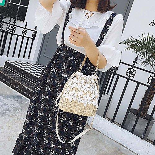 Handbag Vintage Popular Straw Flower Bag Knit Meaeo Bags Summer Beach Female Weave Women Travel Lady Crossbody Shoulder YwIqw6fxt