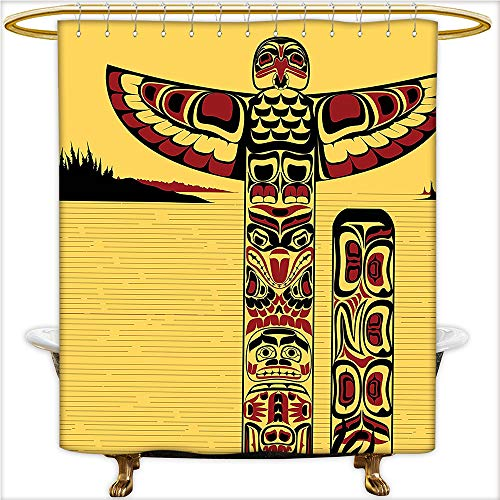 Qinyan-Home Waterproof Polyester Bathroom Illustration of a North American Totem Pole Ancient Spirit Native Artprint Yellow Red Black. Curtain Liner with 12 Hooks.W60 x H72 Inch