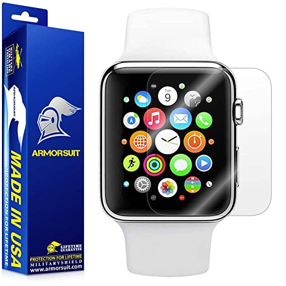 new styles 41735 08829 ArmorSuit Apple Watch 38mm (Series 2/3 Compatible) Screen Protector (2  Pack) Full Coverage MilitaryShield Screen Protector for Apple Watch 38mm ...