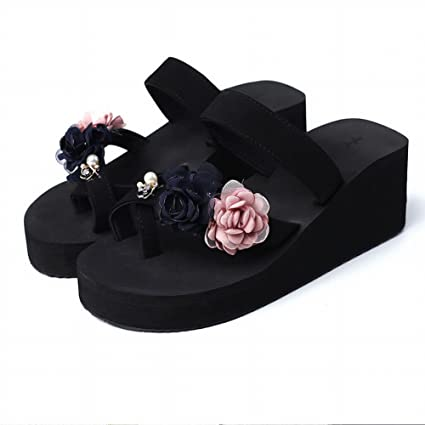 982680c6d31403 DHG Flip Flops - Handmade Flower Slippers Women Leisure Pinch Beach Seaside  Sandals and Slippers Non