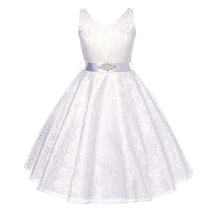 Lisianthus002, abito con scollo a V da bambina, in pizzo floreale, da damigella d'onore, stile principessa