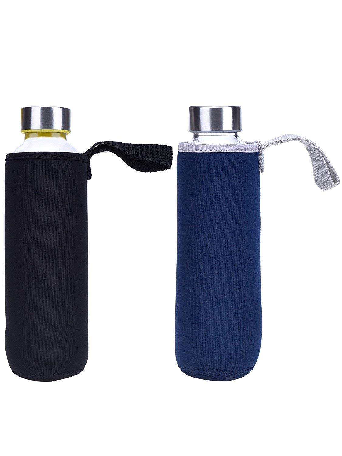 Black and Blue Winallc 2 Pack Water Bottle Sleeve Neoprene Bottle Carrier Nylon Bottle Sleeve for 19.4 oz//550 ml Glass Water Bottle with Cup Brush