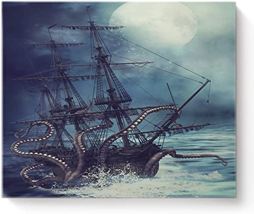Canvas Print Wall Art Kraken Octopus Monster Pirate Ship Wall Decor Paintings Picture