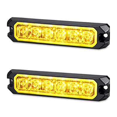 AT-HAIHAN Amber Warning Grill Light Head, IP67 Waterproof Surface Mounts Mini Strobe Light 6W 6 LEDs 18 Patterns for POV, Utility Vehicle, Construction Vehicle, Tow Truck Van (2 Pack): Automotive [5Bkhe0918485]