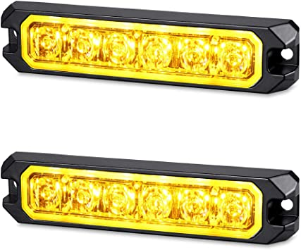 Construction Vehicle and Tow Truck Van Utility Vehicle 16W Bright Linear LED Mini Strobe Lightbar Surface Mount for POV AT-HAIHAN Amber Grille Light Head