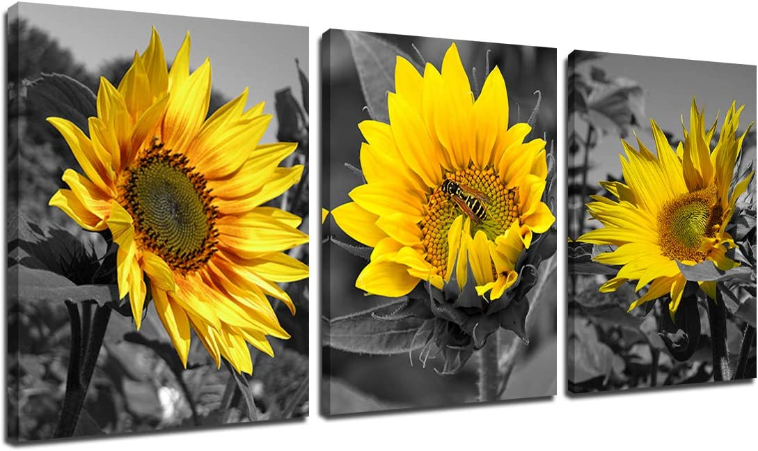 Black White Sunflower Wall Art - Blossom Flower Bee Art Print Yellow Paintings Canvas Scenery Picture Modern Artwork Home Office Kitchen Bathroom Wall Decor 3 Panel Painting Framed 12x16inch