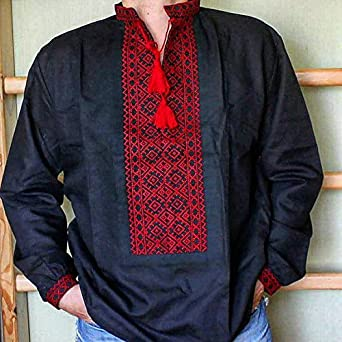 Rushnichok Vyshyvanka - Camisa Bordada para Hombre - Camisa Negra y roja - Adornos ucranianos - Camisa de Boda de Lino - - Medium: Amazon.es: Ropa y accesorios