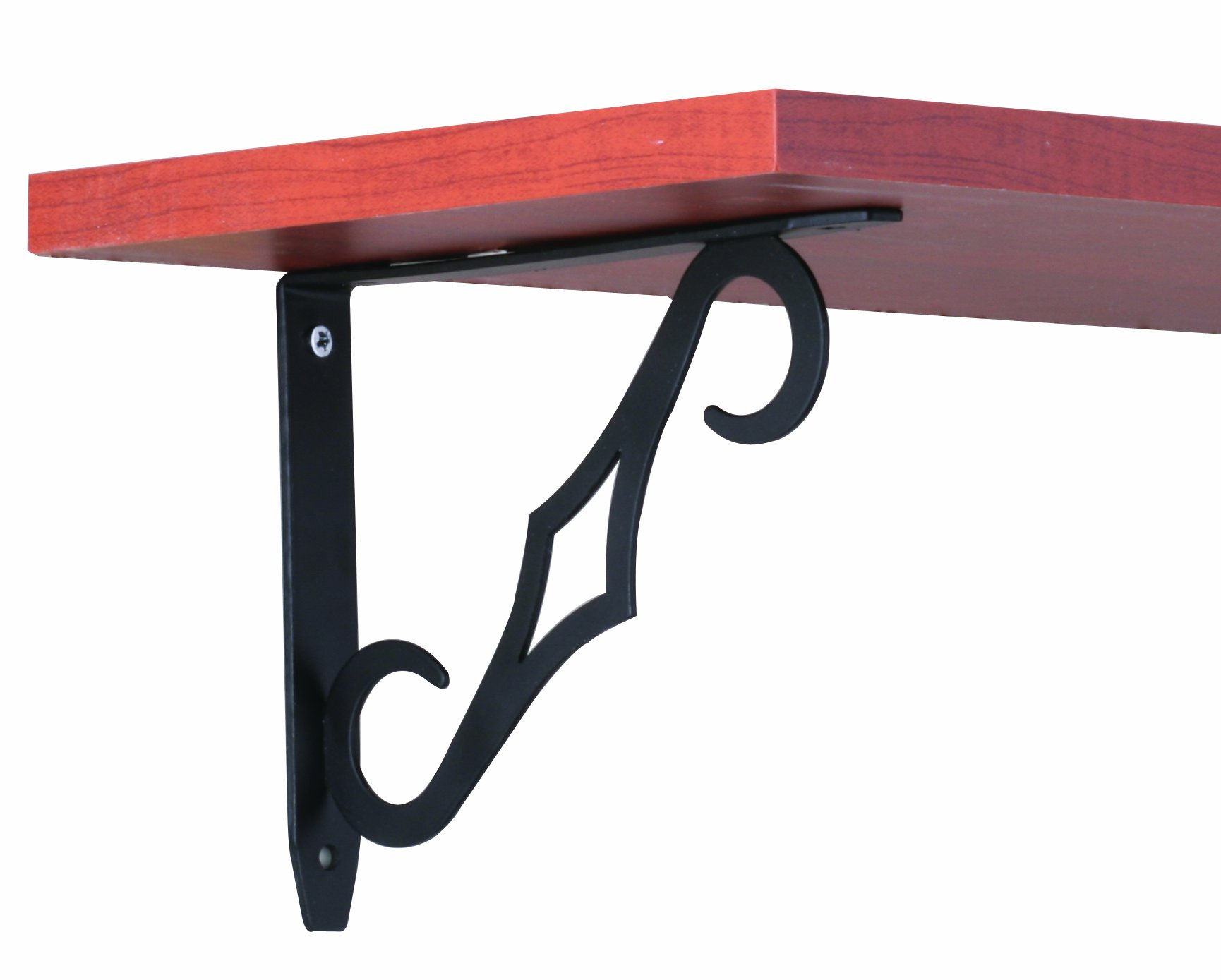 Knape & Vogt John Sterling Colonial Style Decorative Shelf Bracket, 7-Inch, Black, RP-0090-7BK - This decorative bracket measures 6-3/4-inches deep by 5-5/8-inches tall Designed to support shelves 6-inches to 8-inches in depth This design incorporates a tasteful colonial designed steel support brace attached to a durable steel L-bracket - wall-shelves, living-room-furniture, living-room - 61GrTJK9%2BKL -