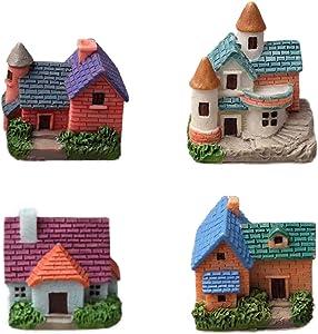 N/C Pupdoge 4 Pcs Miniature Fairy Garden Stone House, Mini Resin House Fairy Cottage House Micro Landscape Garden Decoration for Plant Flower Pots