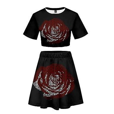 BienBien Mujer T-Shirt y Falda Cortos Conjunto de Dos Piezas Juice ...