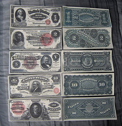 Five Dollar Silver Certificate (Series 1886 Silver Certificate XLarge $1 $2 $5 $10 $20 Dollars Copy Reprints)