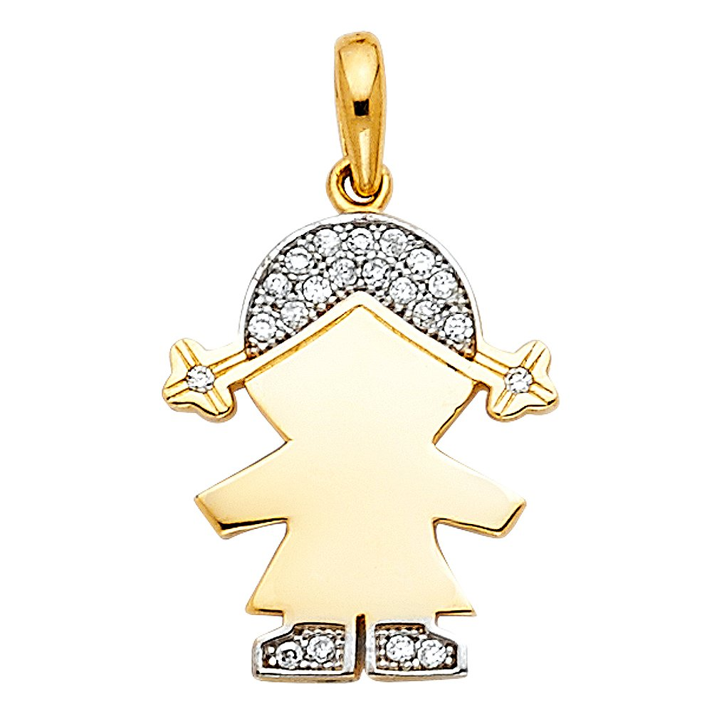 Jewels By Lux 14K Yellow Gold Cubic Zirconia CZ Girl Pendant 16mm X 12mm