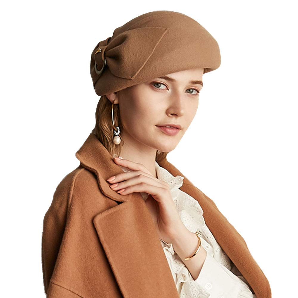 FADVES Elegant Bow French Wool Berets Vintage Women Solid Color Warm Beanie Cap (Camel)