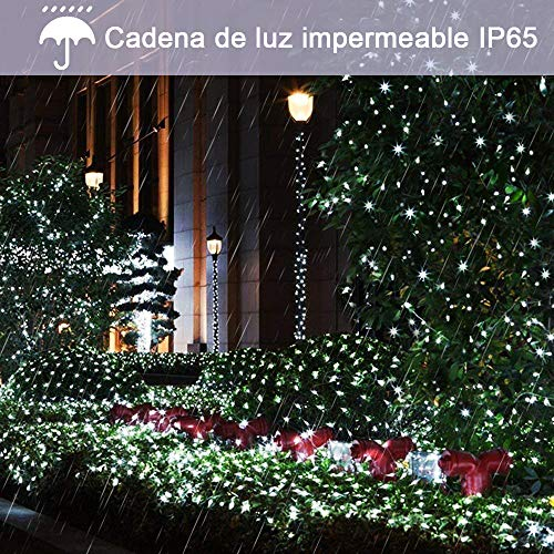 aifulo Guirnaldas Luces Exterior Solar,aifulo 20m 200 LED Cadena de Luces,8 Modos Impermeable Iluminación Decoración para Navidad,Terraza,Fiestas,Bodas,Patio,Jardines,Festivales