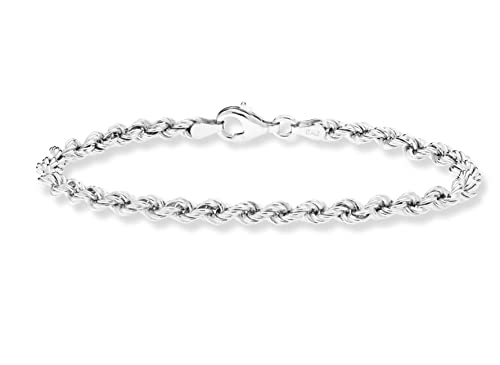 dbd087b1defc4 MiaBella 925 Sterling Silver 4mm Classic Rope Chain Bracelet for Women Men