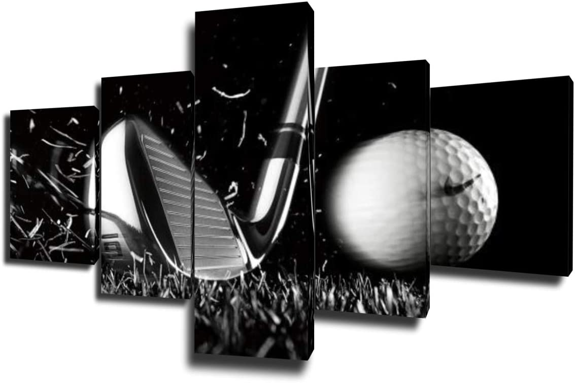 Golf Course Pictures White and Black Wall Art Golf Ball Paintings Multi Panel Printed on Canvas Landscape Artwork Modern Home Decoration Giclee Wooden Framed Gallery-Wrapped Ready to Hang(50''Wx24''H)