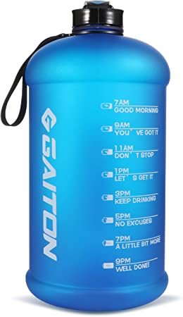 GAITON 2021 New 1 Gallon Water Bottle with Time Maker and Straw - 128oz Motivational Water Bottle - BPA Free Wide Mouth Sports Water Bottle - Leak-Proof for Fitness and Outdoor Enthusiasts