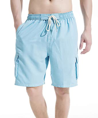 8da161c449de5 Akula Men Swim Trunk Short Elastic Waist Solid Beach Wear with Pockets  Light Blue Size S
