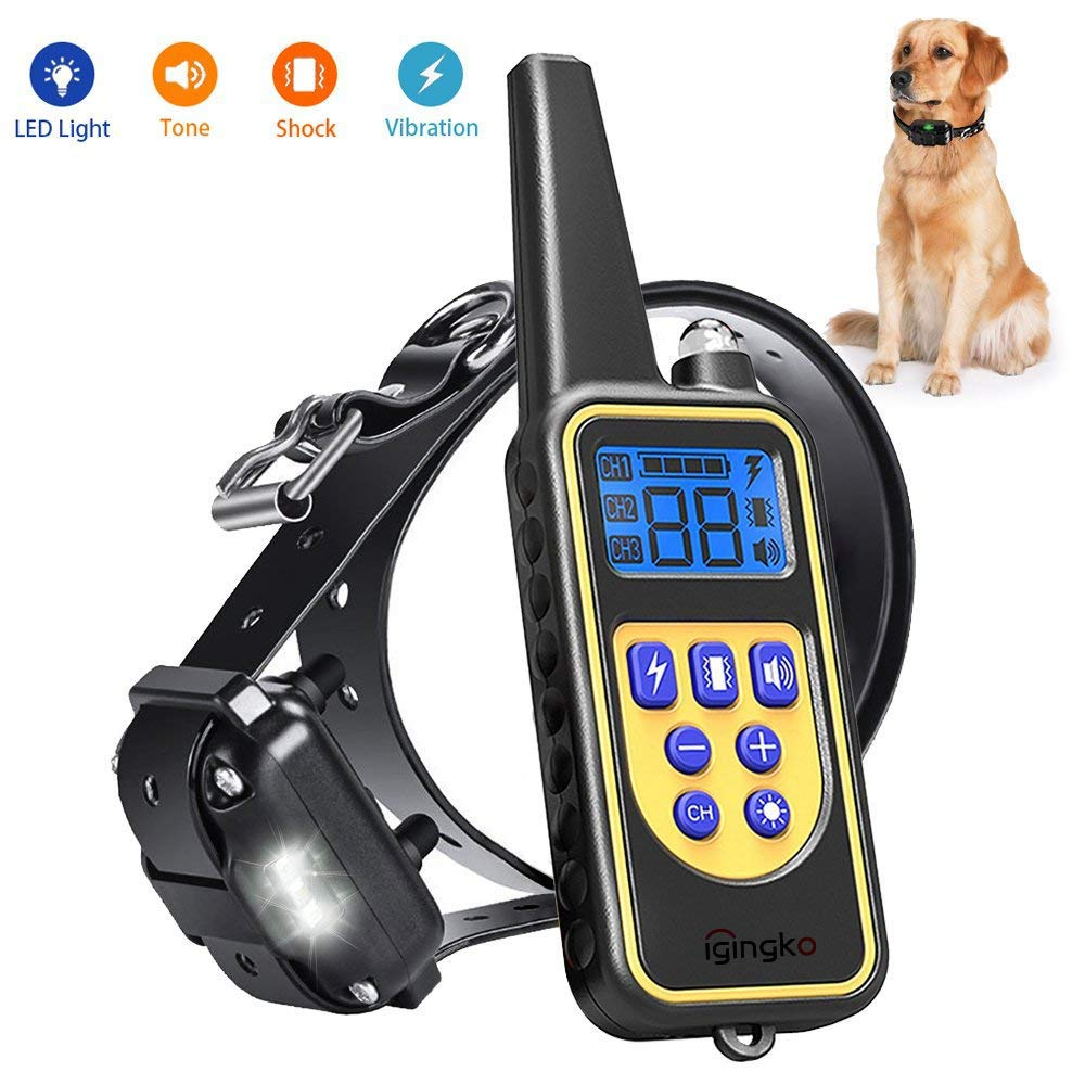 For 1 dog igingko Dog Training Collar with Remote 2600ft, 100% Waterproof and Rechargeable Shock Collar for Dogs with 4 Modes  LED Light Beep Vibration Shock,Electric E-Collar for Small,Medium, Large Dogs