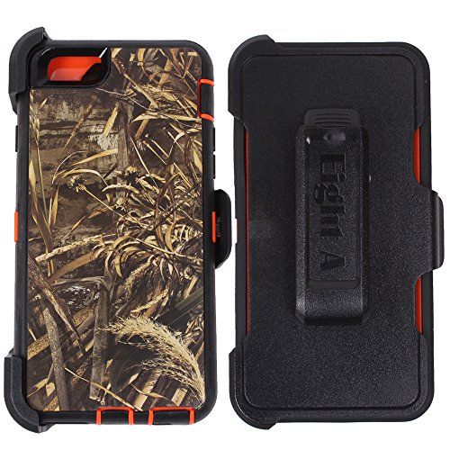 Heavy Duty Defender Impact Rugged with Built-in Screen Protector Camouflage Case Cover with Clip for Apple iPhone 6S Plus (Orange-Grass-Camo)
