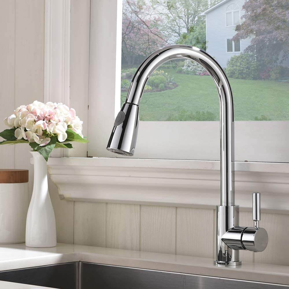 Single Handle Kitchen Tap Faucet with Different Water Modes GLANZHAUS Modern High Arc Swivel Spout Pull Down Pull Out Sprayer Spring Chrome Kitchen Taps