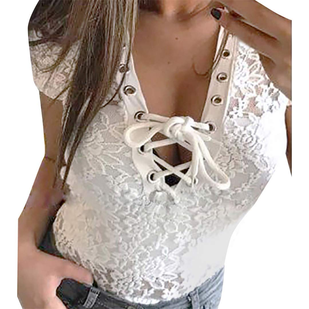Womens Casual Solid Color Short-Sleeve Openwork Summer T-Shirt XVSSAA Ladies Hollow-Out Lace Panel Vest