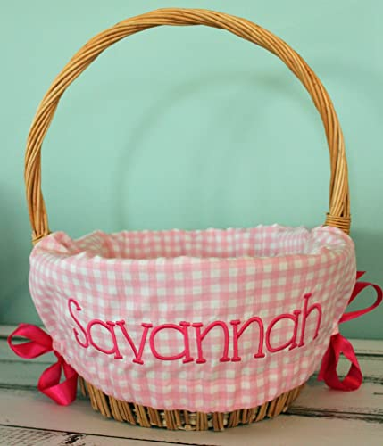 Personalized with Name Personalized Easter Basket Liner Light Pink Gingham Plaid