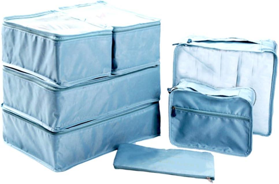 Ewparts 7 unidades bolsas de maletas viaje impermeables nylon organizador de viajes, organizador de maletas (Teal)