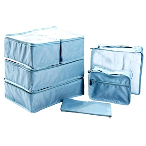 Ewparts 7 unidades bolsas de maletas viaje impermeables nylon organizador de viajes, organizador de maletas