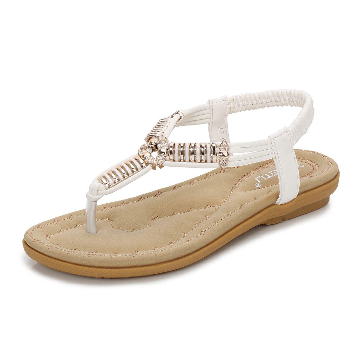 gracosy Damen Sandalen, Flip Flops Sommer Sandals Flach Zehentrenner T-Strap Offen Bouml;hmische Strand Schuhe  38 EU|Wei?