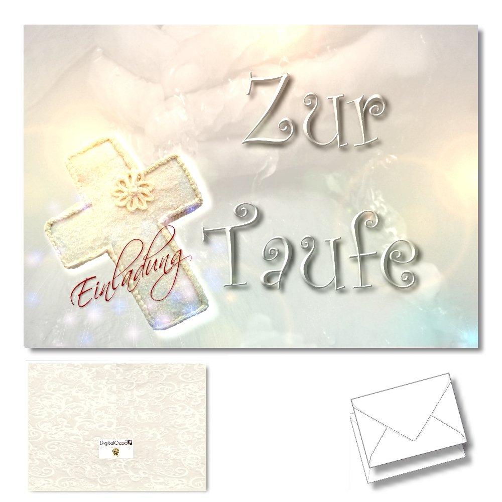 DigitalOase 2 Taufkarten Einladungskarten Zur Taufe   2 Klappkarten Incl. 2  Weiße Kuverts Format DIN A6 (aufgeklappt Ca. 29 X 10 Cm)   Aussen  Glanzdruck ...