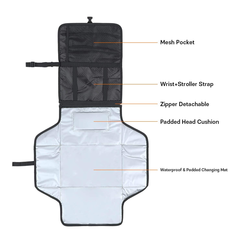 Impermeable Kit Cambiador de Viaje Bolsa para Cambio de Pa/ñales en Viajes Esterilla Lavable Completamente Acolchado Tonsmile Cambiador Port/átil de Pa/ñales para Beb/é