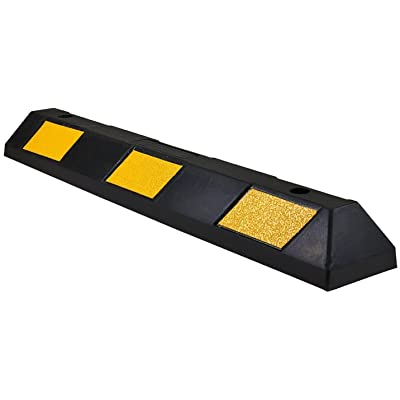 "Electriduct 36"" Heavy Duty Rubber Parking Block Curb 3.75"" Height 3 Feet Long - Black/Yellow Stripe: Automotive"