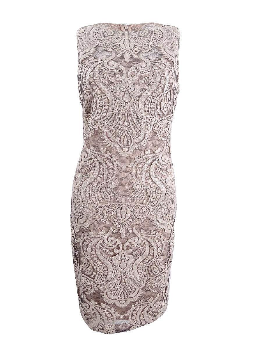 Calvin Klein Womens Sequined Lace Illusion Sheath Dress 8