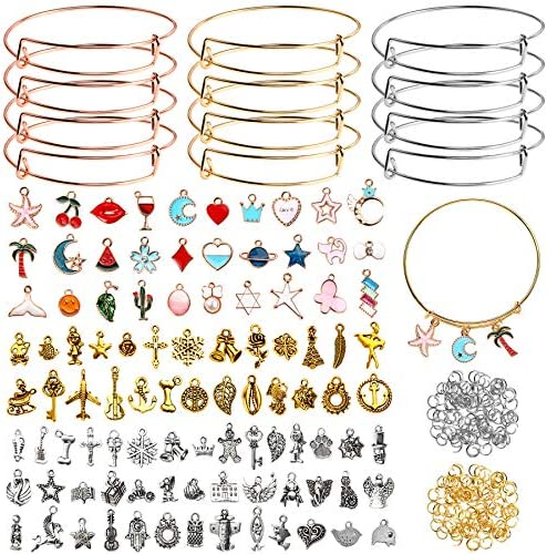 UPINS 340PCS Expandable Bangle Bracelets Set, 30Pcs Blank Bracelets, 50Pcs Tibetan Silver Charms, 30Pcs Colorful Enamel Pendants, 30Pcs Antique Gold Charms, 200Pcs Jump Rings for Jewelry Making Supplies
