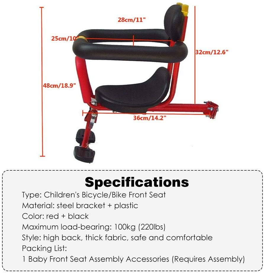 su-xuri Child Bike Seat Front-Mount Child Bike Seat For Toddlers Ultralight Mountain Safety Carrier For Children Aged 8 Months To 4 Years Old