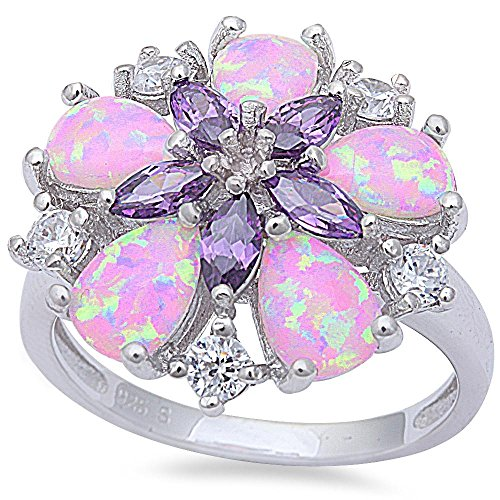 Lab Created Pink Fire Opal, Simulated Amethyst, & Cz Flower .925 Sterling Silver Ring Size7