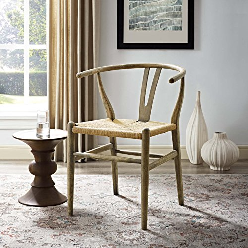 Modway Amish Mid-Century Weathered Gray Wood Dining Armchair