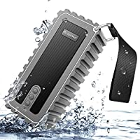 Portable Outdoor Bluetooth Speaker, HC-RET Water Resistant IPX7 Wireless Shower Speaker with Microphone, 2 X 5W Output Power with Enhanced Bass - Gray