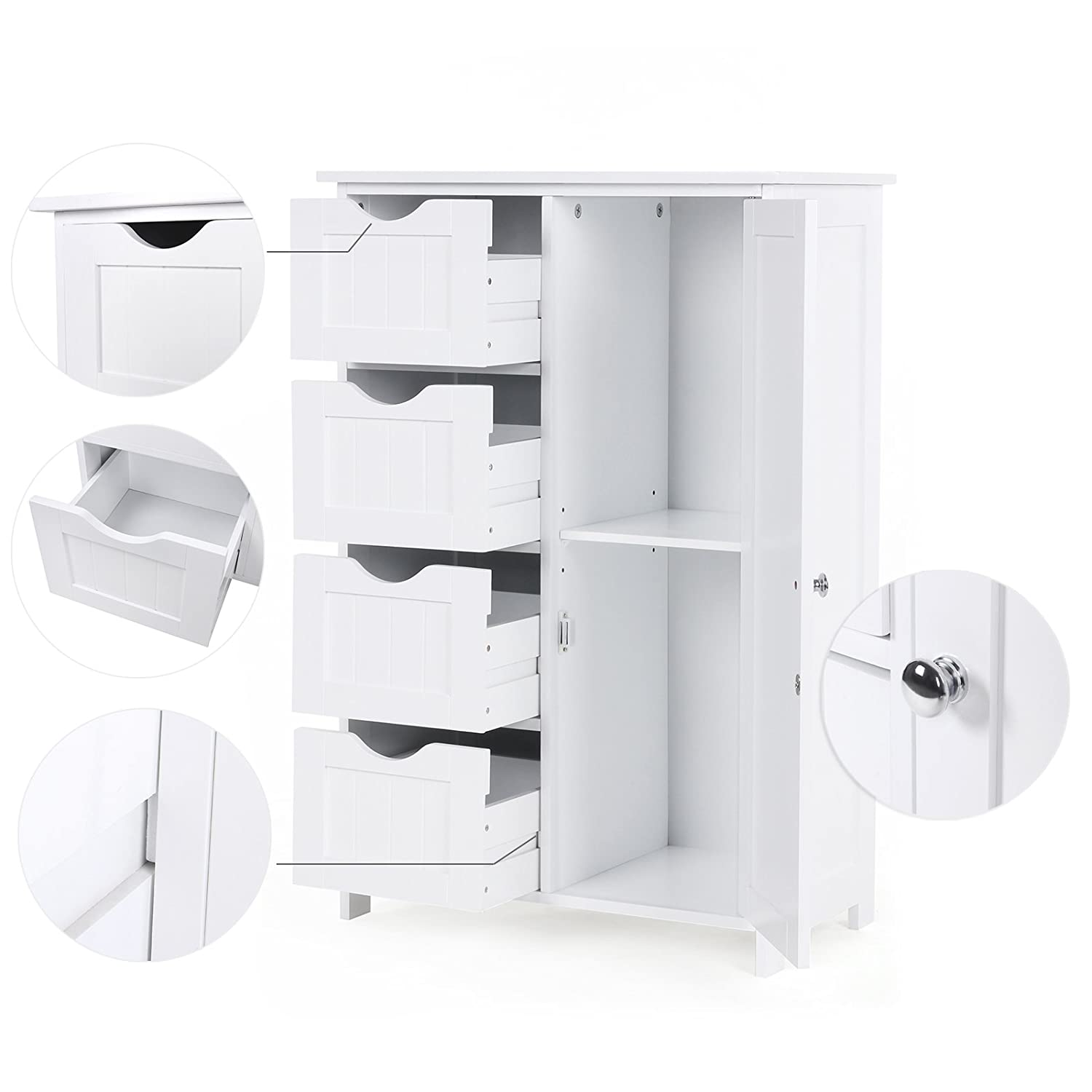 White ULHC41W VASAGLE Bathroom Storage Cabinet Floor Cabinet with Adjustable Shelf and Drawers