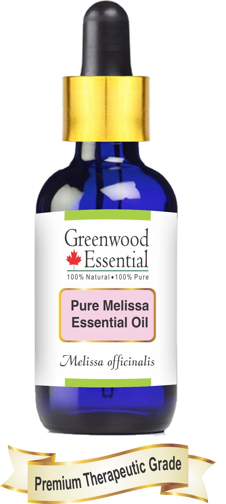Greenwood Essential Pure Melissa Essential Oil (Melissa officinalis) with Glass Dropper 100% Natural Therapeutic Grade Steam Distilled 100ml (3.38 oz) by Greenwood Essential