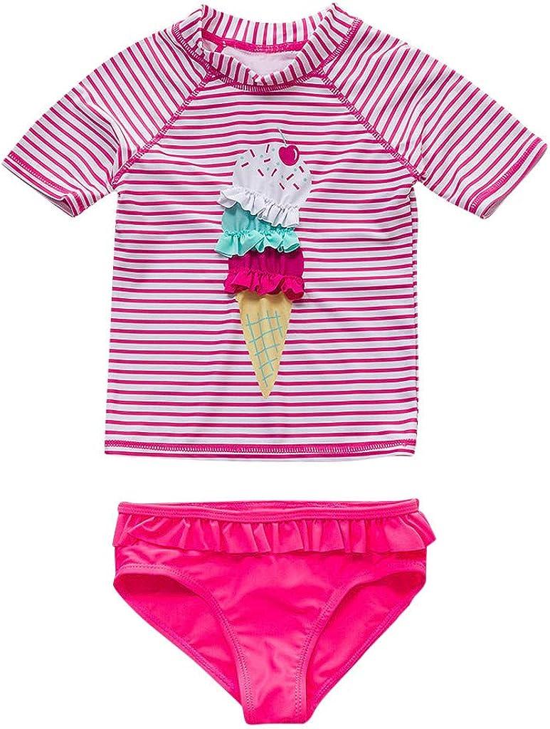 LABIUO Maillot de Bain 2 Pi/èces Enfant B/éb/é Fille Manche Courte Imprim/é Ray/é Anti-UV T-Shirt Top de Bain Short de Bain Plage V/êtement Sport Natation Costume Beachwear 3-8 Ans