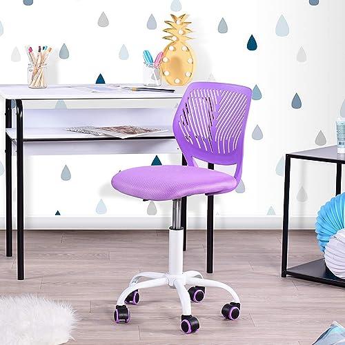 Geniqua Children Task Chair Lumbar Mid Back Adjustable Height Study Computer Chair