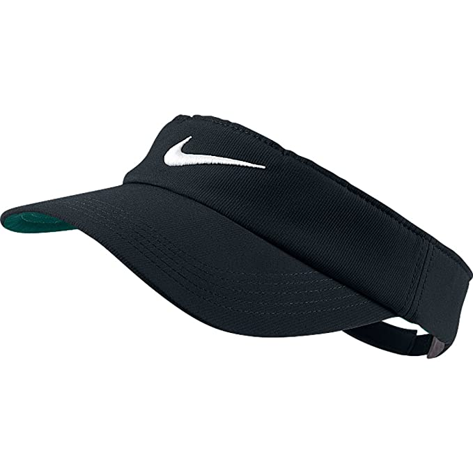 Amazon.com   Nike Tech Swoosh Visor BLACK   Golf Shirts   Clothing c9319ee870d